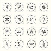 Celebration with circle line icons and white background