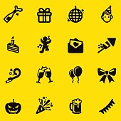 Celebration Yellow Silhouette icons | EPS10