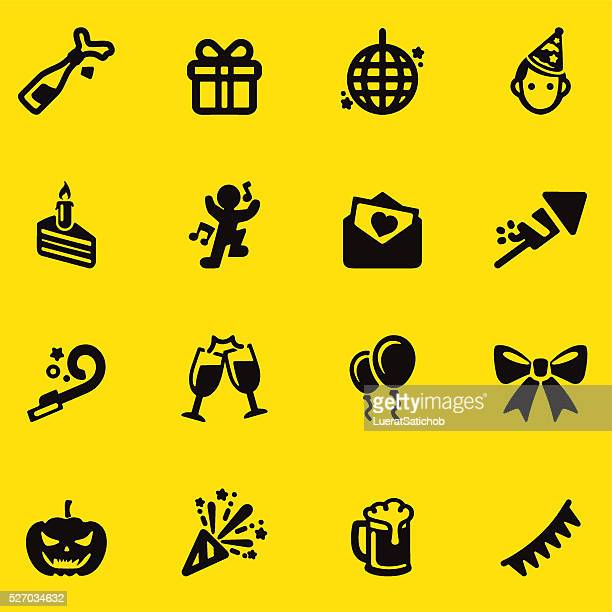 Celebration Yellow Silhouette icons   EPS10