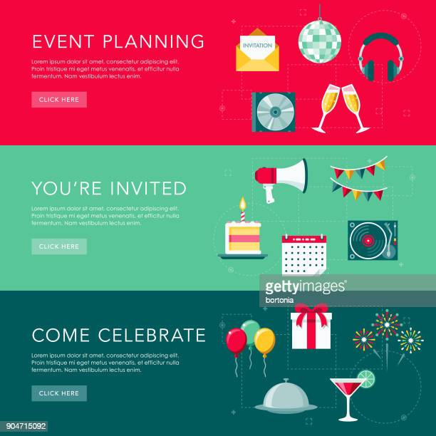 celebrations flat design web banners set - happy birthday banner stock illustrations