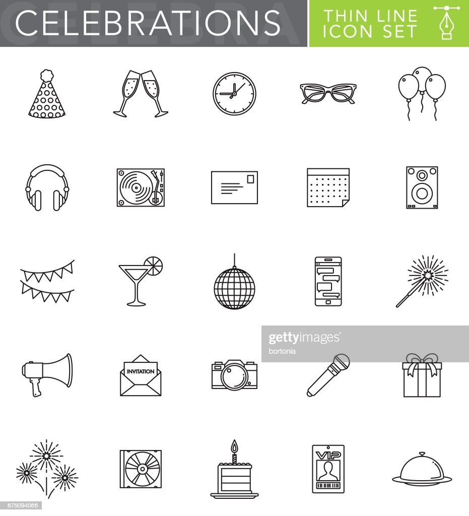 Celebrations & Parties Thin Line Icon Set in Flat Design Style : stock illustration