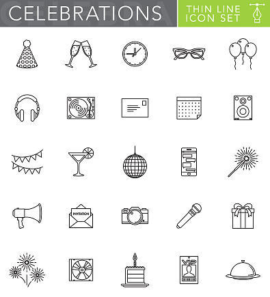Celebrations & Parties Thin Line Icon Set in Flat Design Style - gettyimageskorea