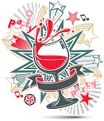 Celebrative leisure backdrop with musical notes, glass goblet