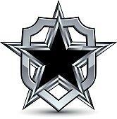 Celebrative vector silver element with black pentagonal star, 3d