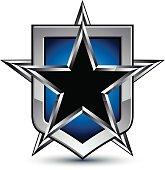 Celebrative vector silver emblem with black pentagonal star, 3d