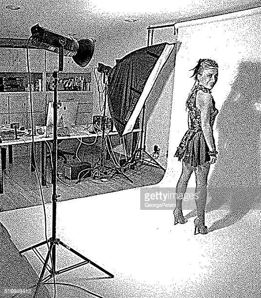 Celebrity posing for promotion photos in studio and lights
