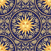 Celestial baroque seamless pattern with sun face