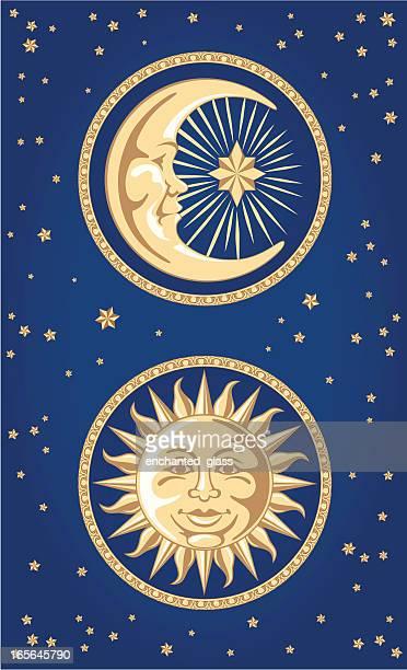 celestial moon & sun ornaments - man in the moon stock illustrations, clip art, cartoons, & icons