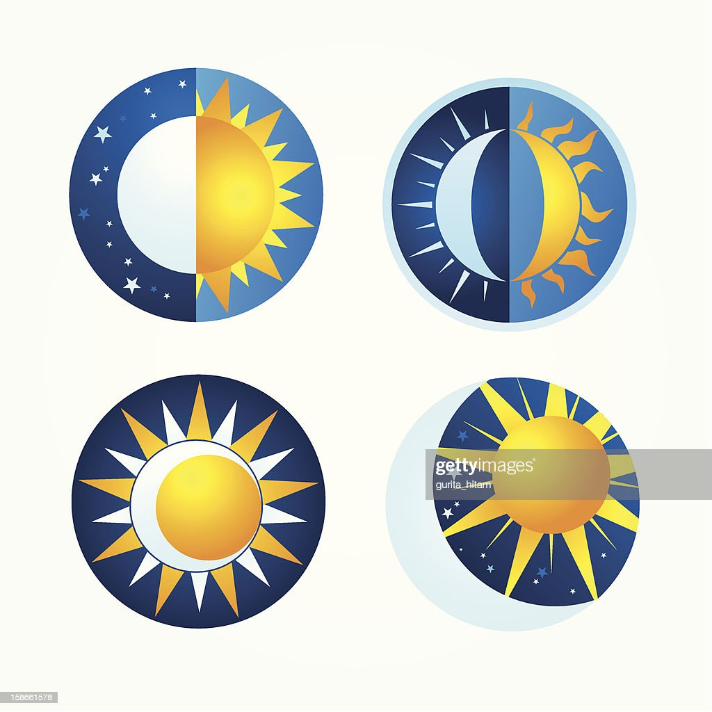 Celestial stages of the sun and the moon