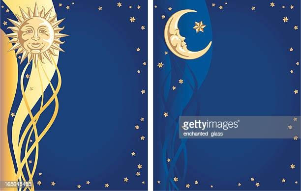 celestial sun, moon and stars background - man in the moon stock illustrations, clip art, cartoons, & icons