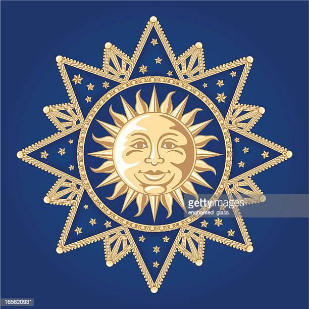 celestial sun ornament - man in the moon stock illustrations, clip art, cartoons, & icons