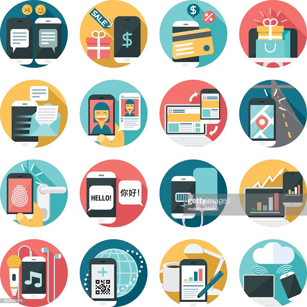 cell phone activities icon set : stock illustration