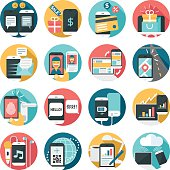 cell phone activities icon set