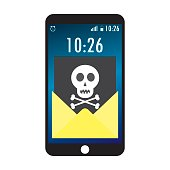 Cell phone and envelope with black document and skull icon