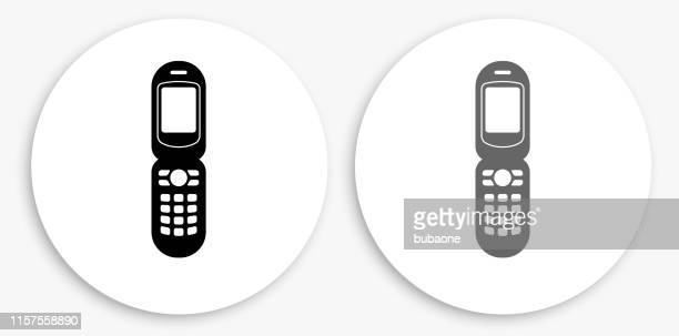 Cell Phone  Black and White Round Icon