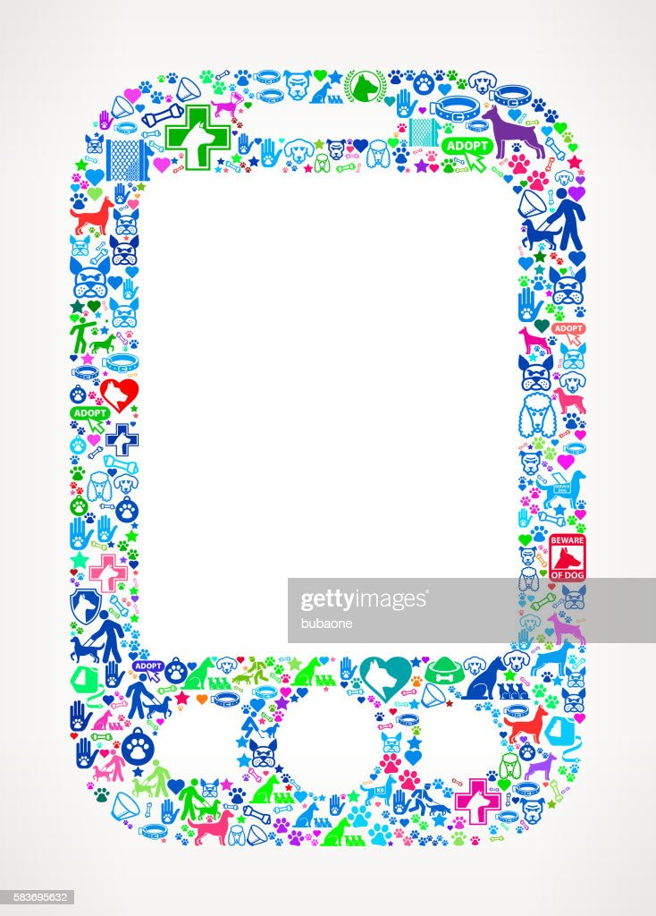 Cell Phone Dog and Canine Pet Colorful Icon Pattern