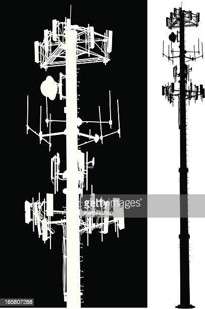 ilustraciones, imágenes clip art, dibujos animados e iconos de stock de teléfono móvil, sistema de comunicación global torre - torres de telecomunicaciones