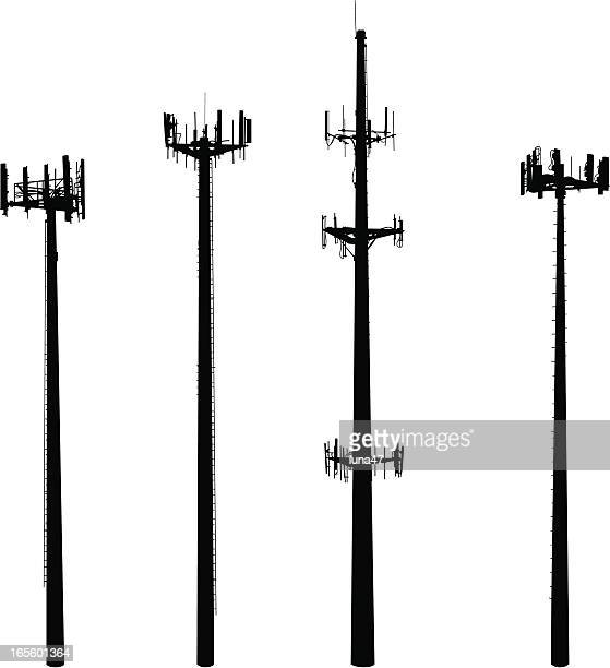 cell phone towers - communications tower stock illustrations