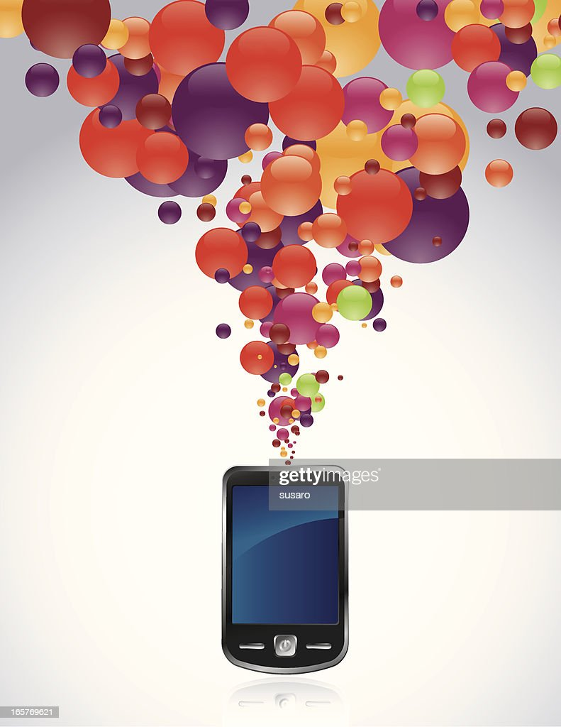 Cell Phone with burst of color bubbles