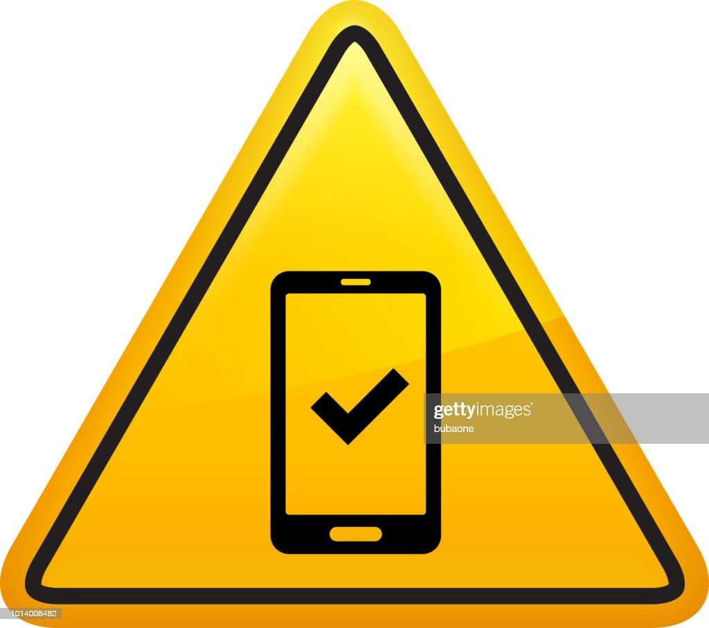 Cell Phone With Checkmark Icon Stock Illustration - Getty Images