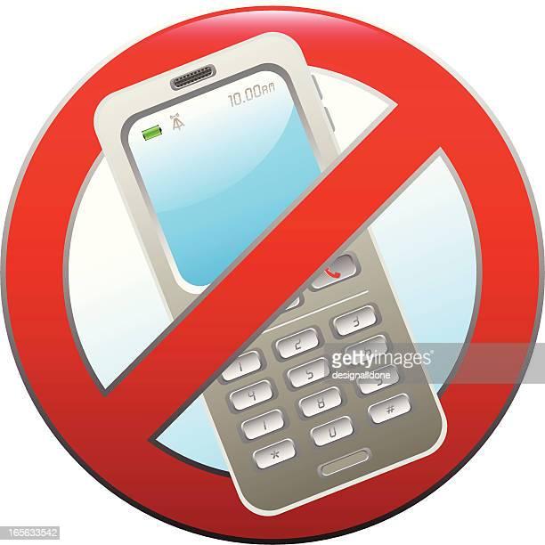 ilustrações de stock, clip art, desenhos animados e ícones de sinal de proibido telemóveis - proibido celular