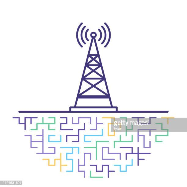 cell tower range flat line icon illustration - tower stock illustrations