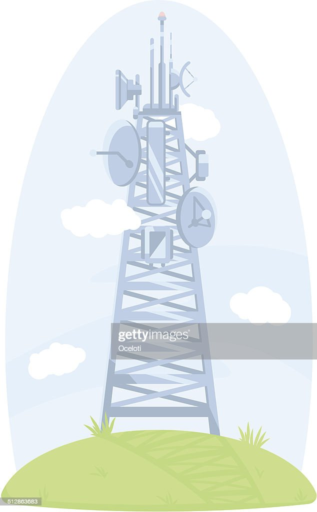 Cell tower with antennas and satellite dishes
