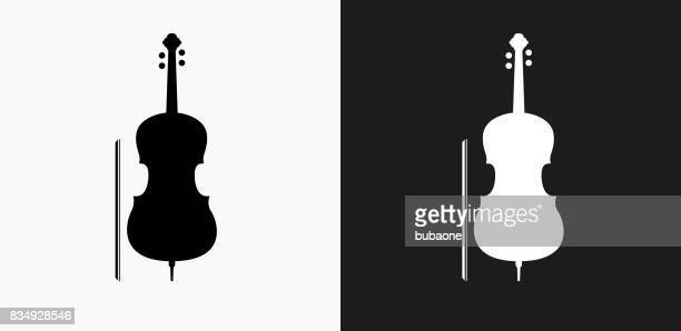 cello icon on black and white vector backgrounds - musical instrument stock illustrations, clip art, cartoons, & icons