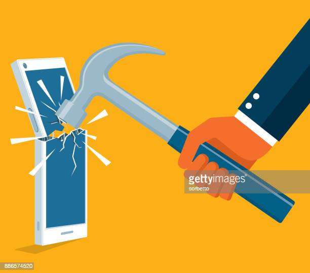 Cellphone being hit with a hammer
