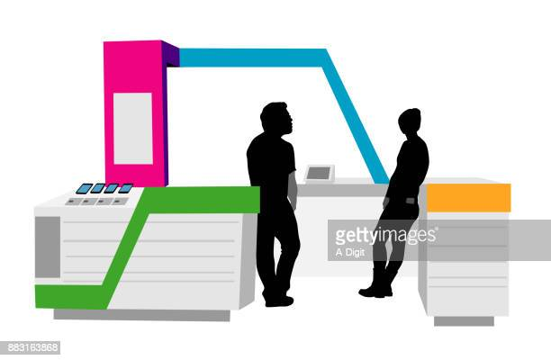 cellphone kiosk bored - retail employee stock illustrations