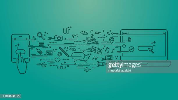 cellphone to computer files transfer - exchanging stock illustrations