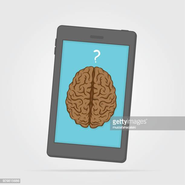 cellphone with brain - communication problems stock illustrations, clip art, cartoons, & icons