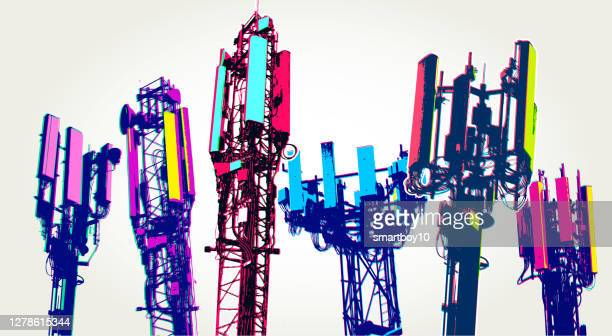 cellular communications tower for mobile phone - conspiracy stock illustrations