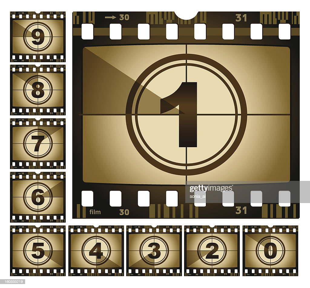 Celluloid film strips with a countdown from 9 to 0
