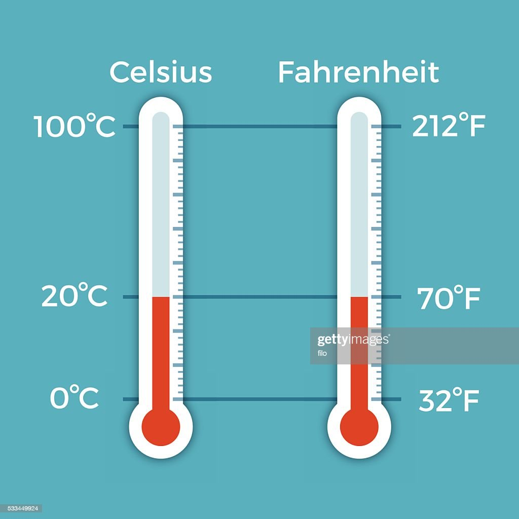 celsius and fahrenheit thermometer comparison vector art getty images