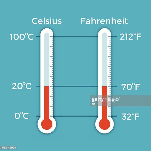 celsius and fahrenheit thermometer comparison - temperature stock illustrations