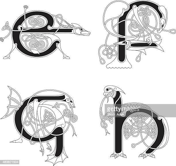 ilustraciones, imágenes clip art, dibujos animados e iconos de stock de celta animal iniciales: letras e, f, g y h - letrae
