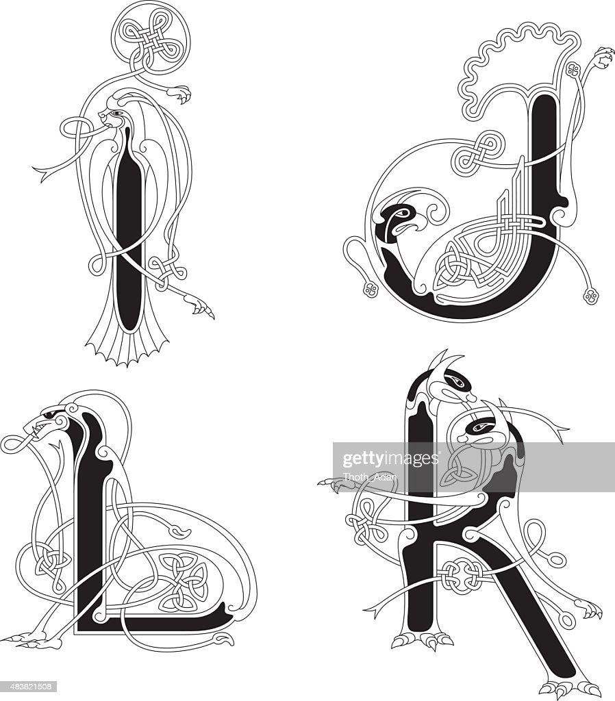 Celtic animal initials: letters I, J, K and L