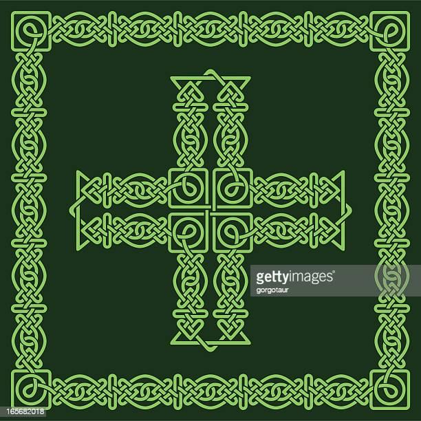 celtic cross and frame - celtic cross stock illustrations, clip art, cartoons, & icons