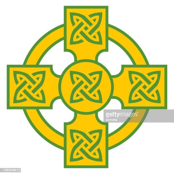 celtic cross icon on transparent background - religious symbol stock illustrations