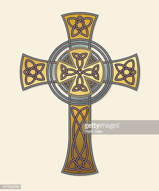 celtic cross in gold (knotted cross variation n° 7) - celtic cross stock illustrations, clip art, cartoons, & icons