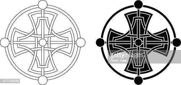celtic cross medaillon (knotted cross variation n° 1) - mystery stock illustrations, clip art, cartoons, & icons