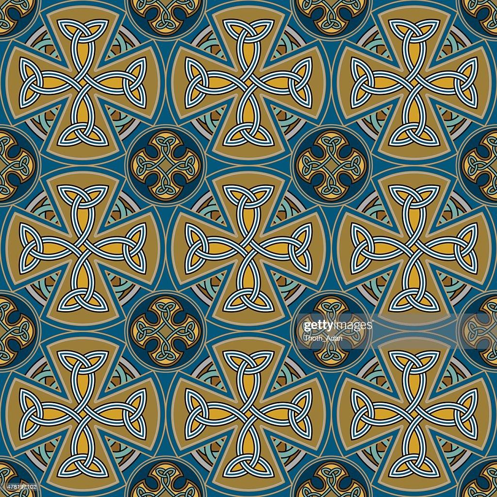 Celtic crosses tiles (Seamless Celtic knot tapestry variation n° 3)