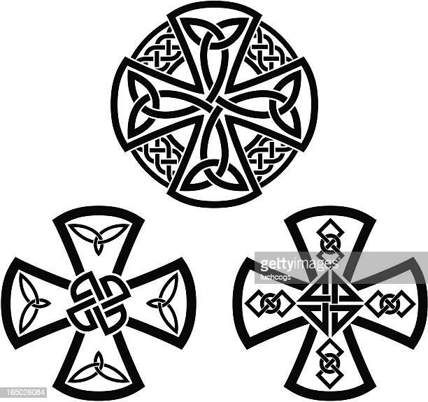 celtic crosses - celtic cross stock illustrations, clip art, cartoons, & icons