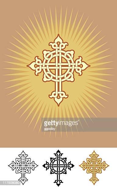 celtic crucifix design - celtic cross stock illustrations, clip art, cartoons, & icons