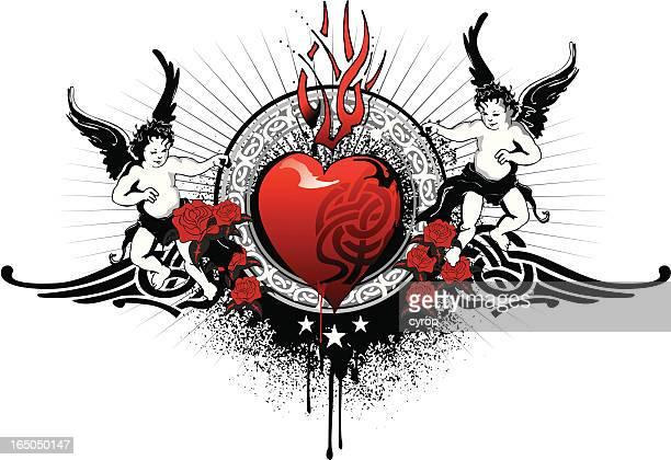 celtic dark love with cherubs emblem - music style stock illustrations, clip art, cartoons, & icons