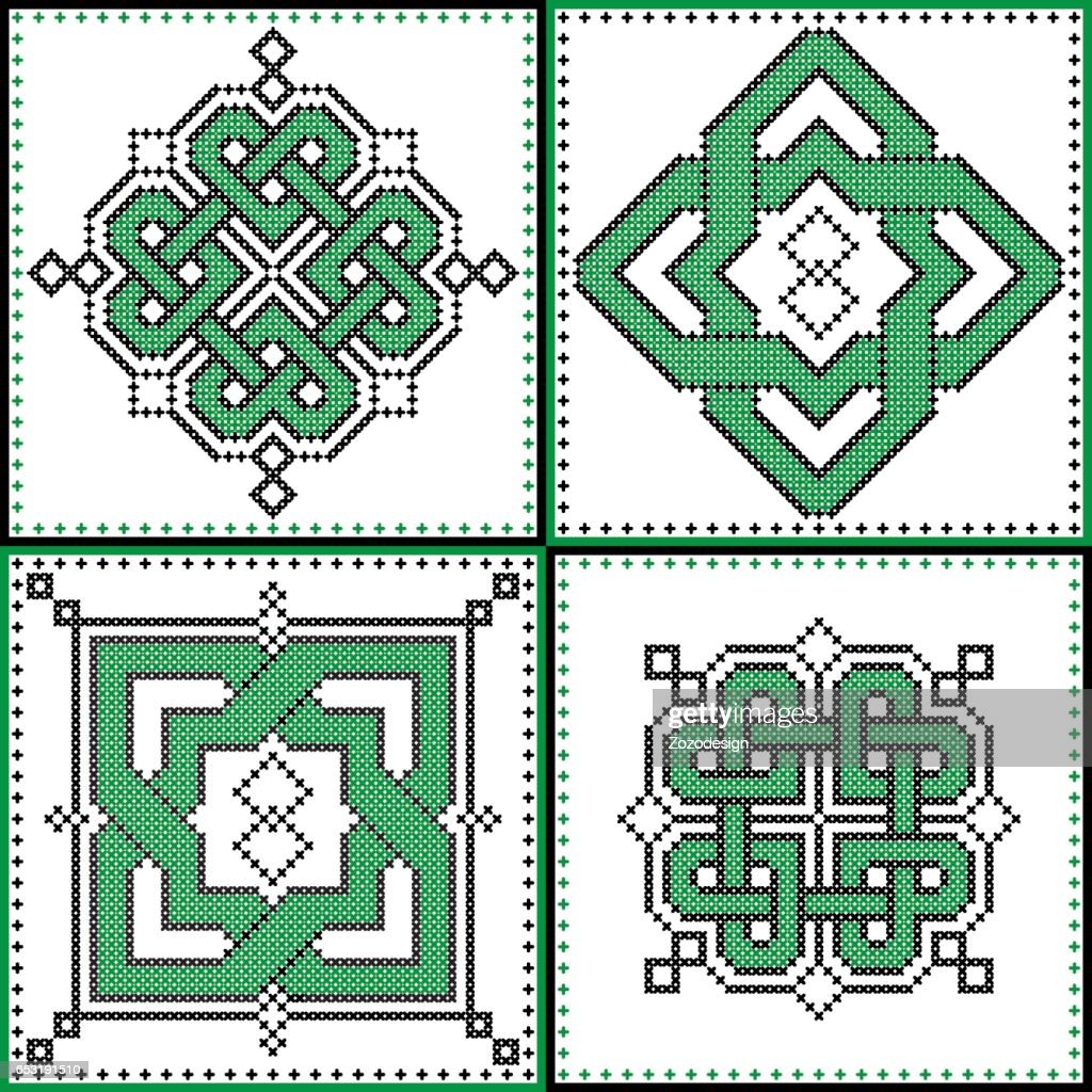 Celtic endless decorative knots selection in black and green cross stitch pattern in the ceramic tile form  inspired by Irish St Patrick's day and ancient Scottish and Irish  culture