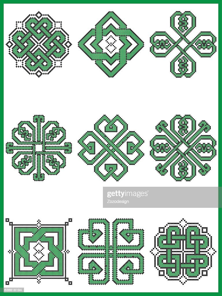 Celtic endless decorative knots selection in black and green
