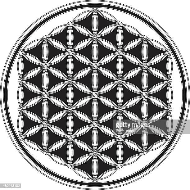 celtic flower of life in black and white (endless knot) - celtic music stock illustrations, clip art, cartoons, & icons