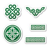Celtic green knots, braids and patterns - vector